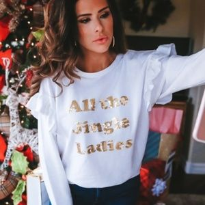 New All the Jingle Ladies White Gold Sweater